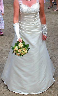 Traum Brautkleid UNIKAT Ivory Creme weiß 40 L Schnürung wie NEU Hochzeitskleid