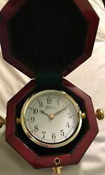"""Marco Clock in Red Laminated Wood Case Battery Quartz New 5x4"""" CK3"""