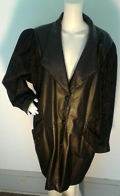 WILSONS LEATHER Womens Black Trench Coat Jacket w Printed Detail XL GORGEOUS!