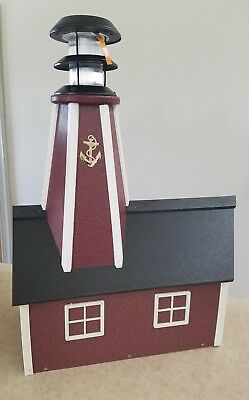 Amish Crafted Solar Powered Poly Lighthouse Mailbox - Lancaster, (Lighthouse Mailbox)