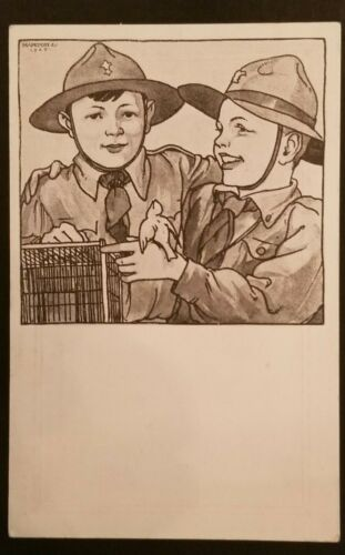 1925 Mint Vintage Hungary Boy Scouts Bird Outside Cage Illustrated Postcard