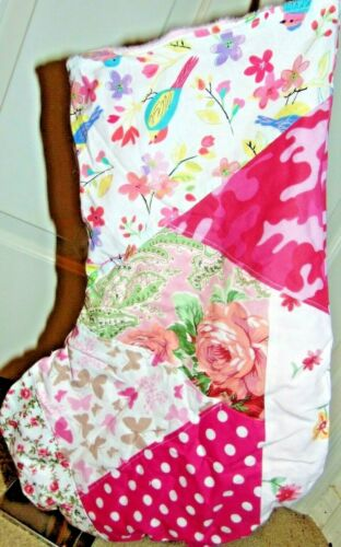 """Santa Sack Stocking Patchwork Quilt with Pinks Flowers Butterflies 18"""""""