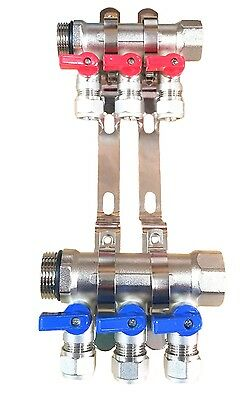 1 3-loopport Ball Valve Brass Pex Manifold For 12 Pex Tubing W Brackets