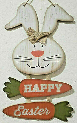 Easter Bunny Rabbit Carrots HAPPY EASTER Hanging Wall Sign Decor 14.25