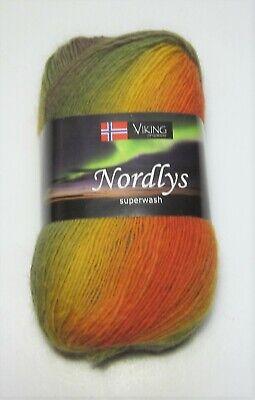 100 gram ball of VIKING NORDLYS sock knitting yarn #934 YELLOW ORANGE OLIVE