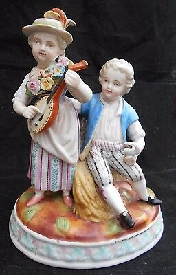 Early Sitzendorf Figurine German Thuringia Porcelain Young Girl Boy Height 16cm