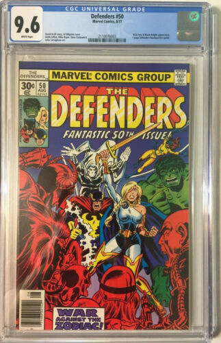 DEFENDERS #50 CGC 9.6 MARVEL 1977 WHITE PAGES MOON KNIGHT BRONZE AGE