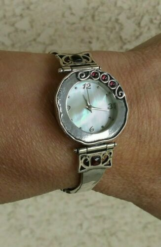 Sterling Silver Handmade Mother Of Pearl Dial, Garnets Bracelet Watch SIGNED