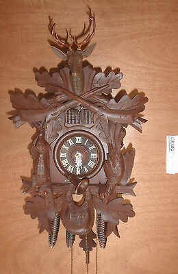 German Black Forest made SEE VIDEO musical hunter 1 Day Cuckoo Clock CK1152