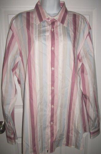 INC International Concepts Women Pink & White Striped Shirt Size XXL