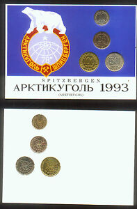 SPITZBERGEN-RUSSIA-NORWAY-COINS-SET-of-4-ATTRACTIVELY-PACKAGED-POLAR-BEAR-1993