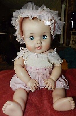 """AMERICAN CHARACTER DOLL 20"""" W/ SQUEAKER WORKS JOINTED 1950'S DRESSED"""