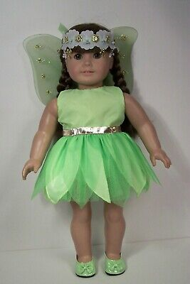 """LIME GREEN Tinkerbell Fairy Halloween Costume For 18"""" American Girl Dolls (Debs)"""