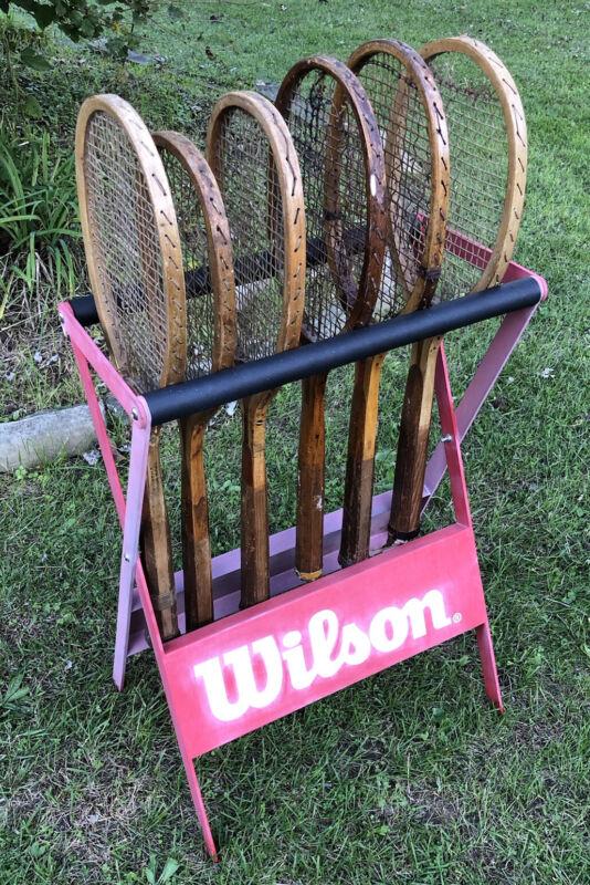 Vtg 1980s Wilson Tennis Racket Store Display Rack Metal Rare