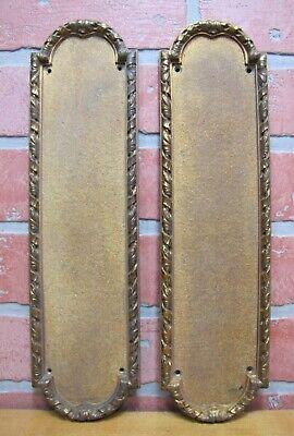 Antique 19c TROLLOPE LONDON Bronze Gold Gilt Door Push Pair Ornate Scrollwork
