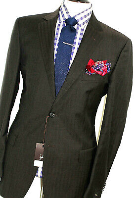 BNWT LUXURY MENS ERMENEGILDO ZEGNA BROWN HERRINGBONE SARTORIAL SUIT 46R W40