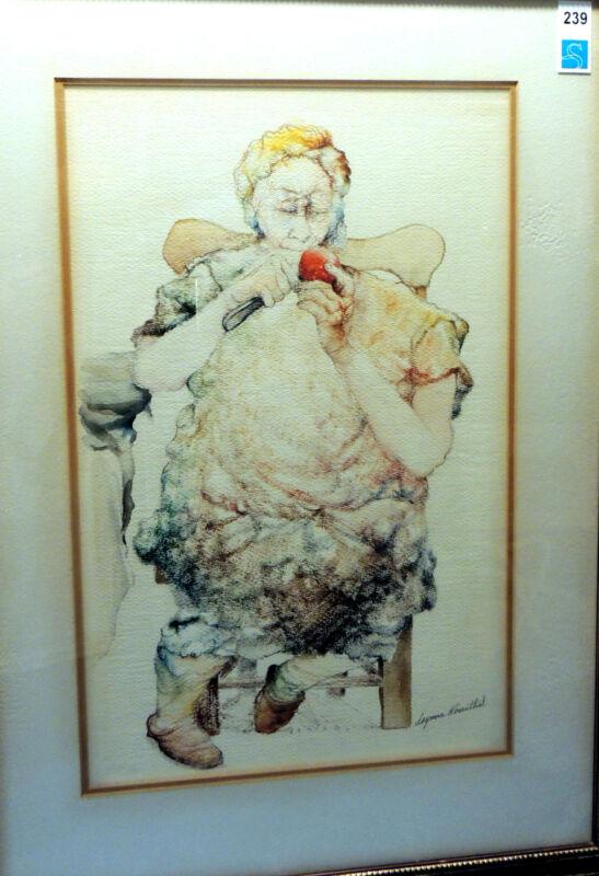 Original Seymour Rosenthal Painting - Woman Peeling An Apple - Mixed Media
