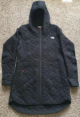 The North Face Jacket Medium Women Black With Orange Details.Light And Thin.long