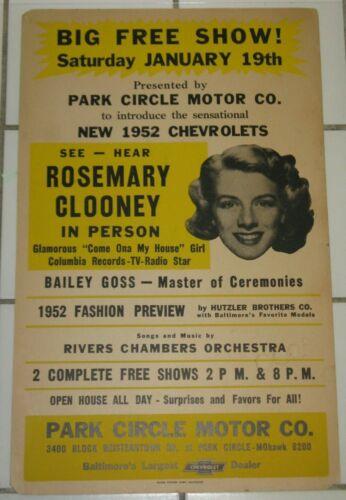 ROSEMARY CLOONEY JAN 19, 1952 CONCERT POSTER BALTIMORE, MD CHEVROLET DEALERSHIP