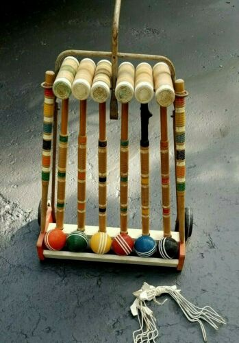 Vintage LAWNPLAY Croquet Set ~ 6 Player ~ on Rolling Cart