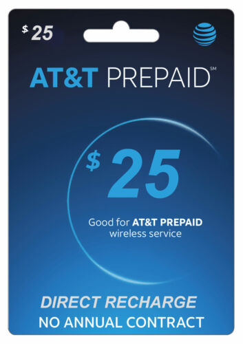 AT&T Prepaid $25 Refill Top-Up Prepaid Card / DIRECT RECHARGE
