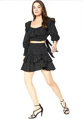 Misa Los Angeles Black Ploka Dot Kayly Top And Beva Skirt NWT XS  Ploka Dot