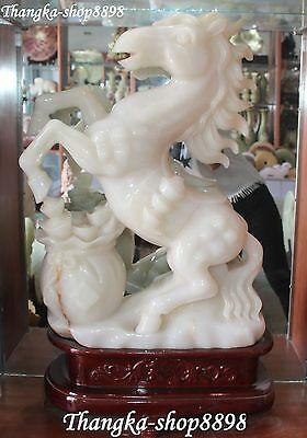 "31"" Chinese Fengshui White Jade Carvig Zodiac Year Horse Horses Animal Statue"