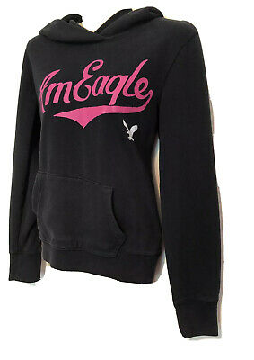 American Eagle Hoodie Sweatshirt Size Medium Eagle Logo Black & Pink Pull Over