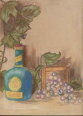 VINTAGE VINEYARD FRUIT GRAPES LEAVES ORCHARD WINE LIQUOR STILL LIFE ART PAINTING