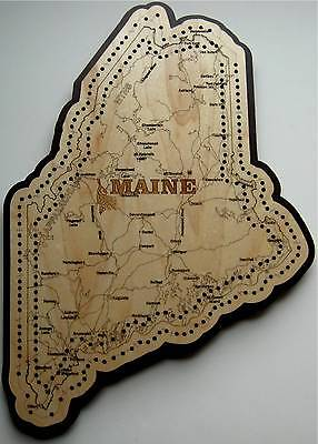 Maine State Shape Road Map Cribbage Board