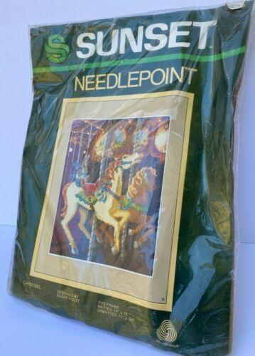 Sunset Needlepoint Kit Carousel Horse in package