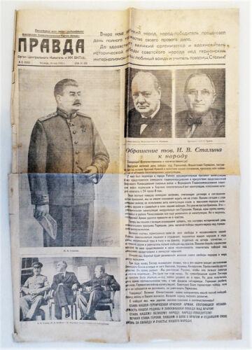 May 10, 1945 Victory of USSR WW II Stalin Newspaper Pravda Russian