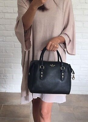 NWT Kate Spade Julianne Mulberry Street Pebbled Leather Crossbody Satchel Black