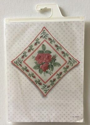 (Thea Gouverneur Counted Cross Stitch Kit 2034 Rose Bouquet Pillow Top)
