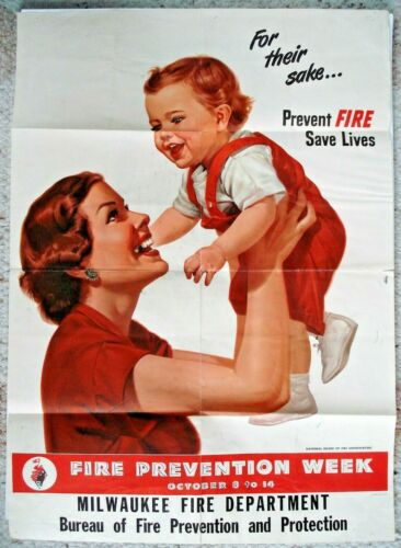 "1948 Original Poster ""MAKE EVERY WEEK FIRE PREVENTION WEEK"" 24x17 Milwaukee HTF"