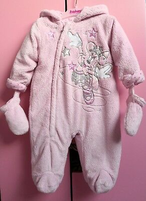 Used, Disney Minnie Mouse Baby Girl pink fleece snowsuit pram suit with mittens size 6 for sale  Shipping to South Africa