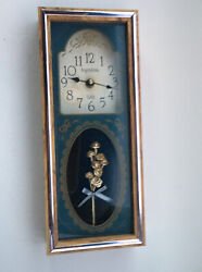 Vintage Retro INGRAHAM Wall Clock Quartz Analog Wooden Rose Bouquet Accent~USA