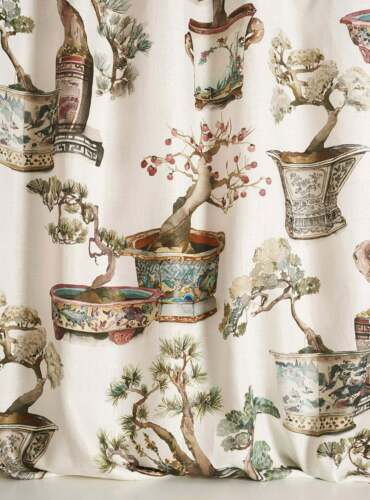 PIERRE FREY CHINOISERIE JAPANESE POTTED BONSAI TOILE FABRIC 3 YDS MULTI