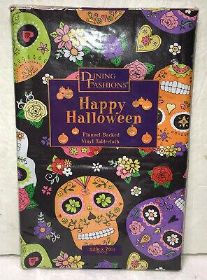 Halloween Vinyl Tablecloth (Sugar Skulls Vinyl Tablecloth Flannel Backed 52x70 Oblong Day of Dead)