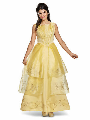 NEW  DISNEY PRINCESS BELLE ADULT M 8-10 BALL GOWN COSTUME & WIG BEAUTY & BEAST
