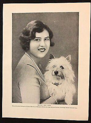 "Original 1934 Dog Print / Bookplate - CAIRN TERRIER, ""Mickie"" & Miss Pilkington"
