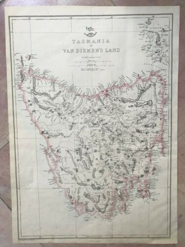 TASMANIA 1863 by EDWARD WELLER LARGE DETAILED ANTIQUE ENGRAVED MAP 19TH CENTURY