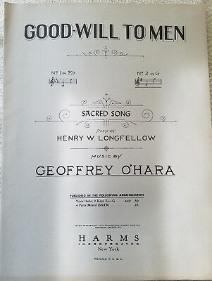 Good-Will To Men - Sheet Music c. 1932; Sacred Song