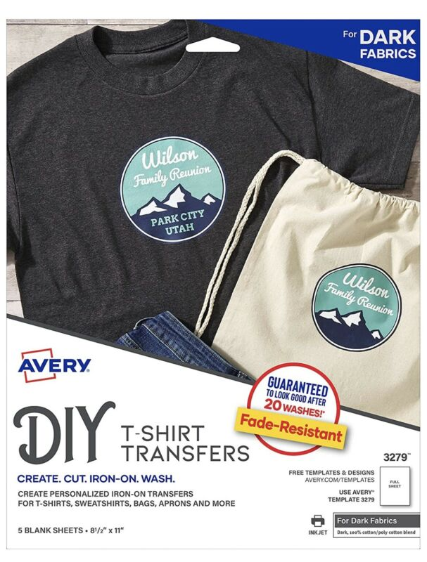 Avery Printable T-shirt Transfer For Dark Fabrics 3279 - 5 Sheets