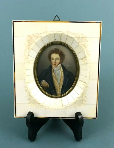 ATQ Hand Painted Bellini Miniature Portrait Bone Vermeiled Frame Italy Signed