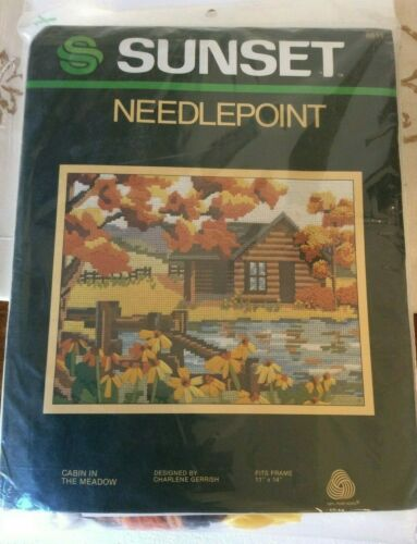 """Sunset Needlepoint Cabin in the Meadow #6811 Vintage 11"""" x 14"""" Wool New"""