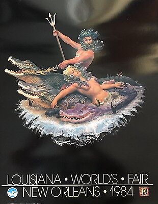 New Orleans 1984 Worlds Fair Neptune Alligator Blaine Kern Poster Mardi Gras