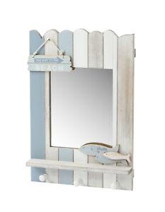 Wooden Wall Mirror 3 Hooks Nautical White Blue Coat Towel Seaside Beach Bathroom