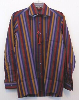 ABBA ~ ITALY Men's Multi Colored Striped Dress Shirt~Long Sleeve-Button Down~NWT