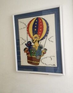 Sesame Street needle point, framed picture